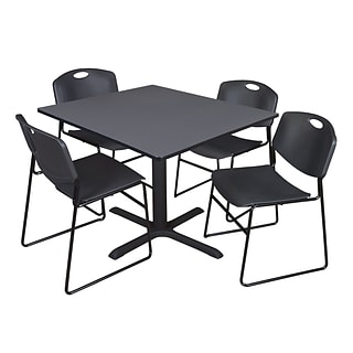 Regency 48-inch Square Laminate Table Cain Base with 4 Chairs, Gray & Black