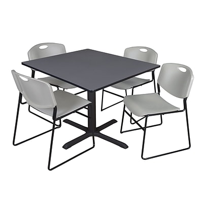Regency 48-inch Square Laminate Table Cain Base with 4 Chairs, Gray