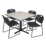Regency 48-inch Laminate Square Table with Four Zeng Stack Chairs, Maple & Black