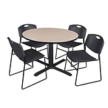Regency 48-inch Laminate Round Table with 4 Zeng Stack Chairs, Beige & Black