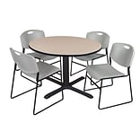 Regency 48-inch Laminate Round Table with 4 Zeng Stack Chairs, Beige & Gray