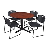 Regency 48-inch Round Cherry Table with Zeng Stack Chairs, Black