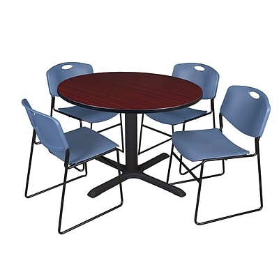 Regency 48-inch Round Mahogany Table with Zeng Stack Chairs, Blue