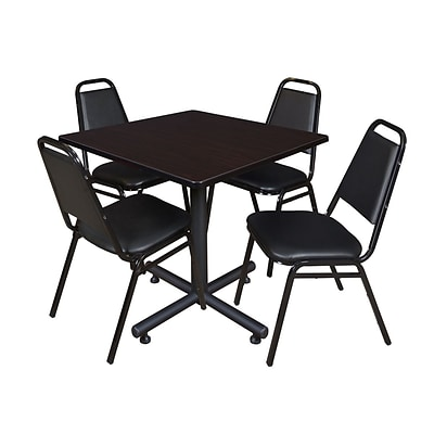Regency Kobe 36 Square Break Room Table, Mocha Walnut & 4 Restaurant Stack Chairs (TKB3636MW29)