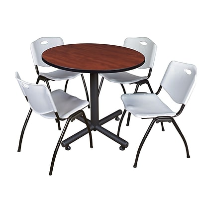 Regency 36-inch Round Laminate Table Cherry With 4 M Stacker Chairs, Gray