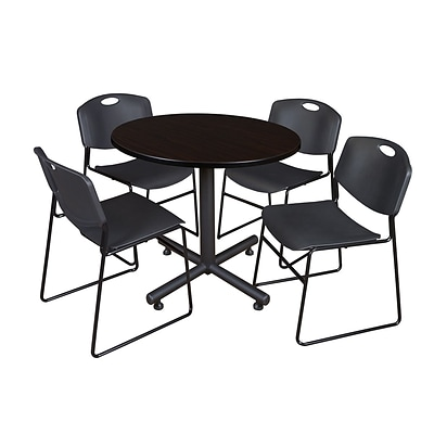 Regency 36-inch Round Mocha Walnut Table with Zeng Stacker Chairs, Black