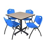 Regency 42-inch Square Laminate Beige Table with 4 Stack Chairs, Blue