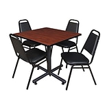 Regency 42-inch Square Laminate Beige & Kobe Base Table With 4 Restaurant Stack Chairs, Cherry