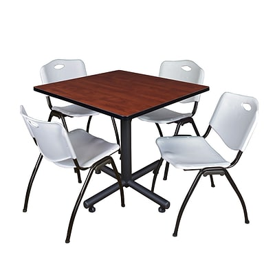 Regency Kobe 42 Square Cherry Breakroom Table with 4 Grey M Stack Chairs (TKB4242CH47GY)