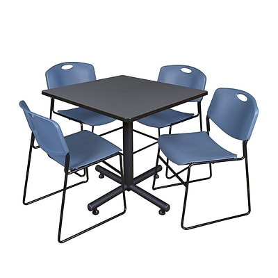 Regency Kobe 42 Square Break Room Table, Gray and 4 Zeng Stack Chairs, Blue (TKB4242GY44BE)