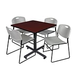 Regency 42-inch Square Laminate Table Mahogany With 4 Zeng Stacker Chairs, Gray