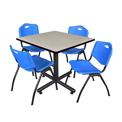 Regency 42-inch Square Laminate Table Maple With 4 M Stacker Chairs, Blue