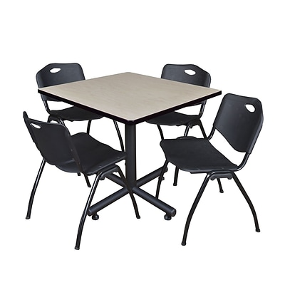 Regency Kobe 42 Square Break Room Table, Maple and 4 M Stack Chairs, Black (TKB4242PL47BK)