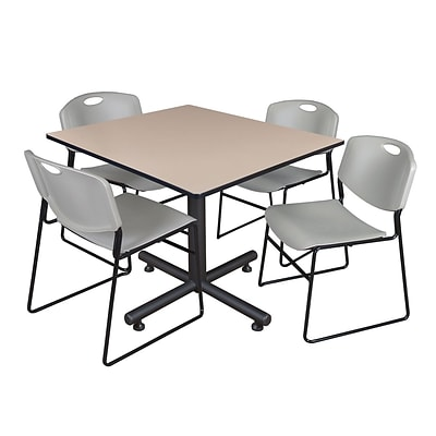 Regency 48-inch Square Laminate Beige Table With 4 Zeng Stacker Chairs, Gray