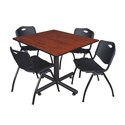 Regency Kobe 48 Square Breakroom Table, Cherry and 4 M Stack Chairs, Black (TKB4848CH47BK)