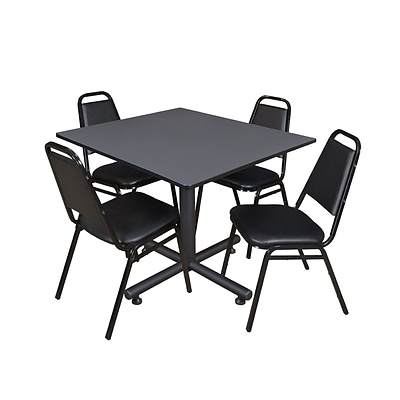 Regency 48-inch Square Laminate Table & 4 Restaurant Stack Chairs, Gray