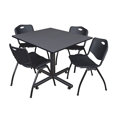 Regency 48-inch Kobe Base Square Table, Grey Table with Black Chairs