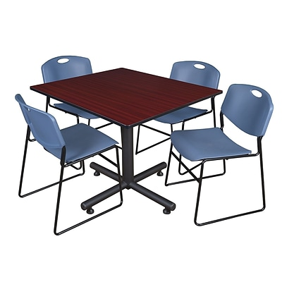 Regency 48-inch Square Mahogany Table with Zeng Stacker Chairs, Blue