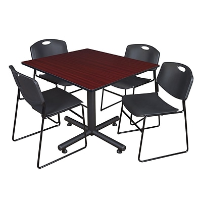 Regency 48-inch Square Mahogany Table with Zeng Stacker Chairs, Black