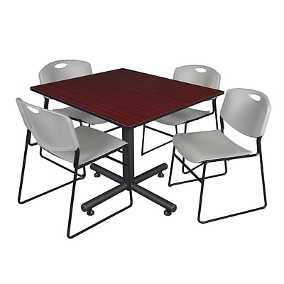 Regency 48-inch Square Mahogany Table with Zeng Stacker Chairs, Gray