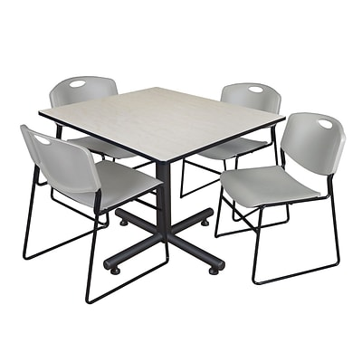 Regency 48-inch Square Maple Table with Zeng Stacker Chairs, Gray