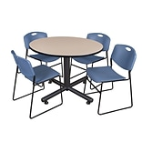 Regency 48-inch Round Beige Table with Zeng Stacker Chairs, Blue