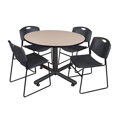 Regency 48-inch Round Beige Table with Zeng Stacker Chairs, Black