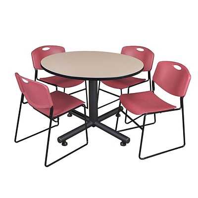 Regency 48-inch Round Beige Table with Zeng Stacker Chairs, Burgundy