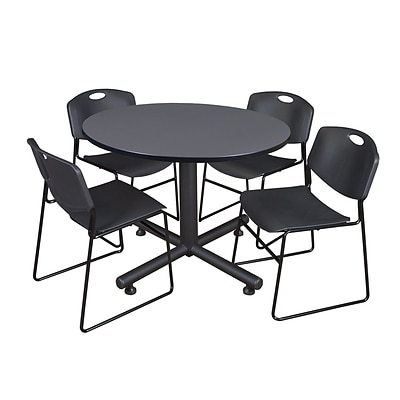 Regency Kobe 48 Round Break Room Table, Gray and 4 Zeng Stack Chairs, Black (TKB48RNDGY44BK)