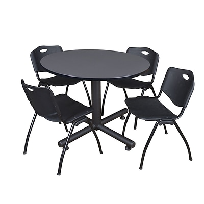 Regency Kobe 48 Round Breakroom Table, Gray and 4 M Stack Chairs, Black (TKB48RNDGY47BK)