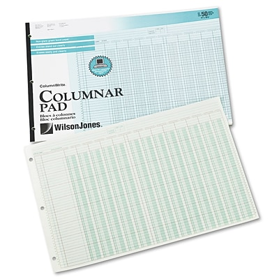 Wilson Jones® Column Write® Pads, 11 x 16 3/8, 41 Lines, 13 Columns, 50 Sheets
