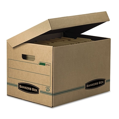 Bankers Box® Systematic® Basic-Duty 100% Recycled Storage Boxes with Attached Flip-Top Lid, Letter/Legal, 12/Ct (12772)