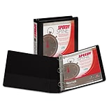 Samsill Speedy Spine Angle-D Ring View Binder, Black, 375-Sheet Capacity, 1 1/2 (Ring Diameter)