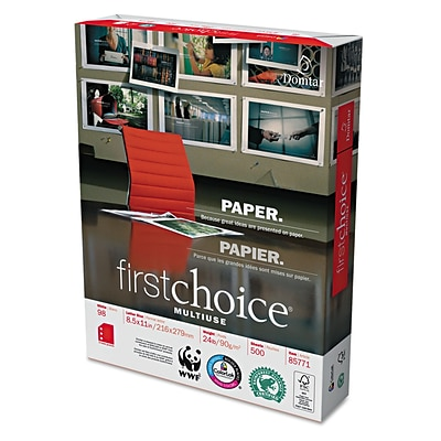 Weyerhaeuser Company First Choice® MultiUse Premium Paper, White, 8 1/2W x 11L, 500/Ream