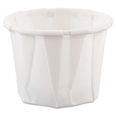 Paper Portion Cups, .75oz, White, 250/Bag, 20 Bags/Ct