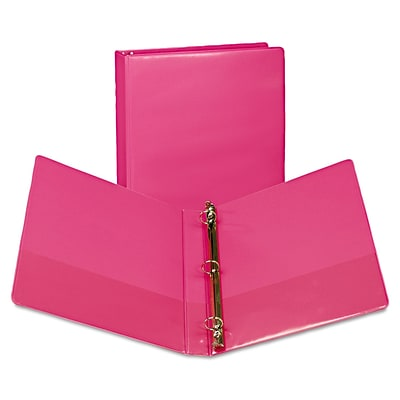 Samsill® Fashion 1 Capacity Presentation Round Ring View Binder, Berry, 2/pack
