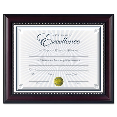 Dax Prestige Document Wood Frame with Certificate, Rosewood with Black Trim, 8 1/2 x 11 (N3028N2T)