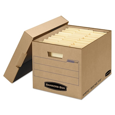 Bankers Box® Mystic™ Heavy-Duty Instant Set-Up Storage Boxes with Lift-Off Lid, Letter/Legal, Kraft, 25/Ct (7150001)