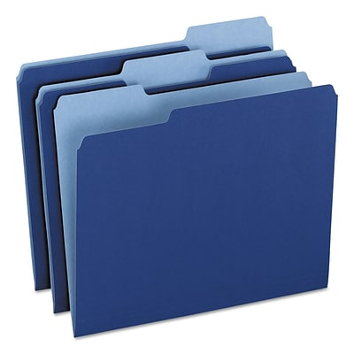 Pendaflex Two-Tone File Folder, 1/3 Top Tab, Letter, Navy Blue/Light Navy Blue, 100/Box