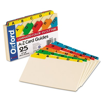Oxford Laminated Tab Index Card Guides, Alpha, 1/5 Tab, Manila, 4 x 6, 25/Set