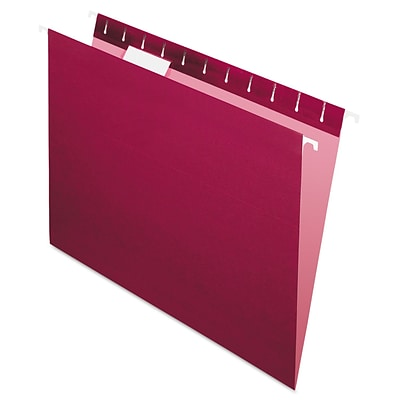 Pendaflex® Essentials™ Colored Hanging Folders, Burgundy, Letter, 25/Box (81613)