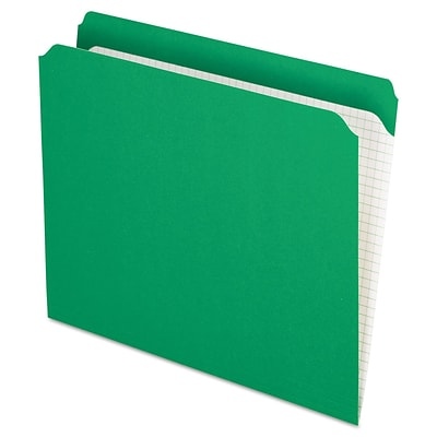 Pendaflex Reinforced Top Tab File Folders, Straight Cut, Letter, Bright Green, 100/Box