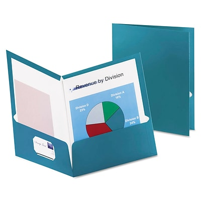 Oxford Two-Pocket Laminated Folder, 100-Sheet Capacity, Metallic Teal, 25/Box