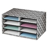 Decorative Eight Compartment Literature Sorter, Letter Size, White/Black Brocade