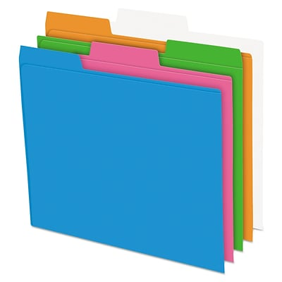 Pendaflex® Glow Poly File Folders, Assorted Glow, Letter, 12/Pack (40528)