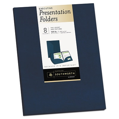 Southworth® Two-Pocket Presentation Folders, 9 x 12, Navy, 8/Pack (98871)