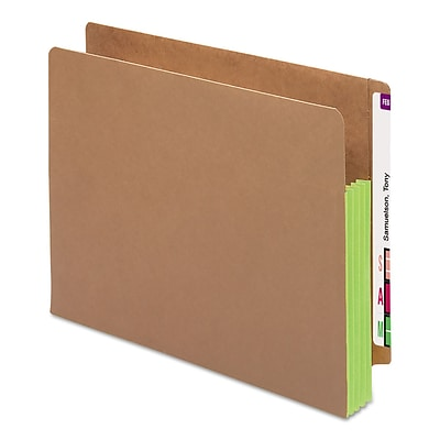 Smead® Drop-Front End-Tab File Pockets with Green Gussets, Letter, Redrope, 10/Bx (73680)