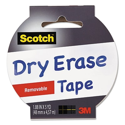 3M Scotch™ Dry Erase Tape, White, 1.88 x 5 yds., 1 Roll