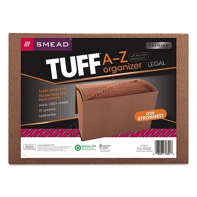 Smead® TUFF Expanding File, Alphabetic (A-Z), 21 Pockets, Flap & Elastic Cord Closure, Legal, Redrope-Printed Stock (70320)