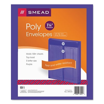 Smead Ultracolor Top-Load Envelopes, Letter, 1 Expansion, Purple, 5/Pack (89544)